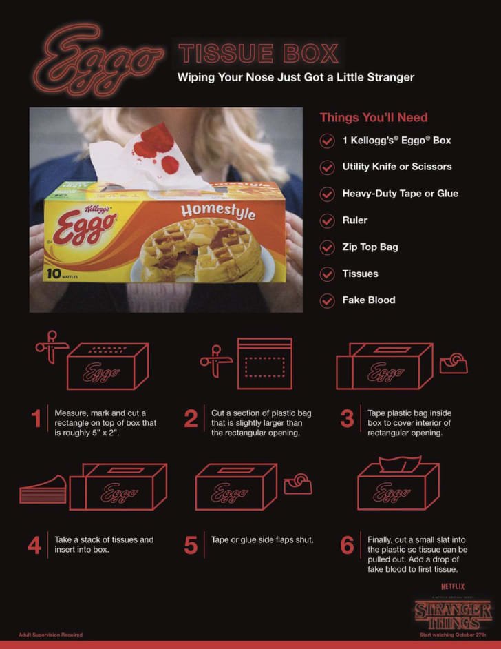 Instructions for crafting with leftover Eggo box.