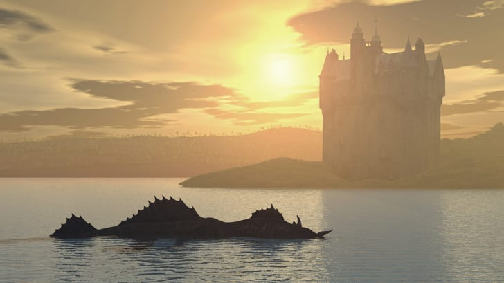 A scaly Loch Ness monster with a Scottish castle in the background