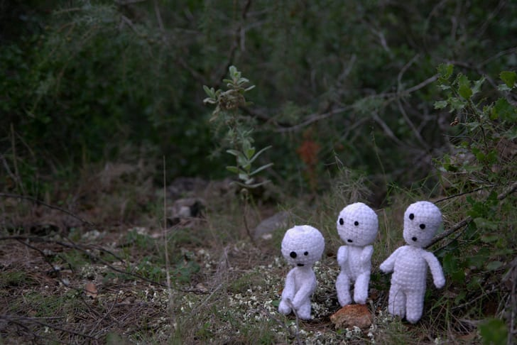Small knitted dolls meant to resemble Japanese tree spirits