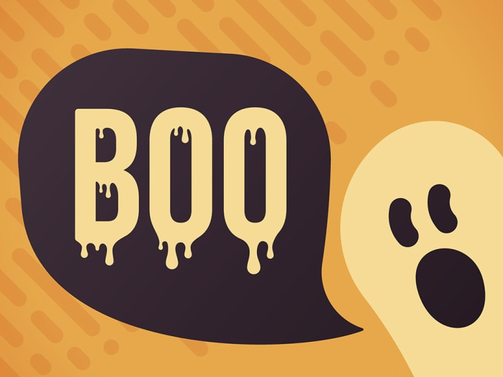 An illustration of a ghost saying boo