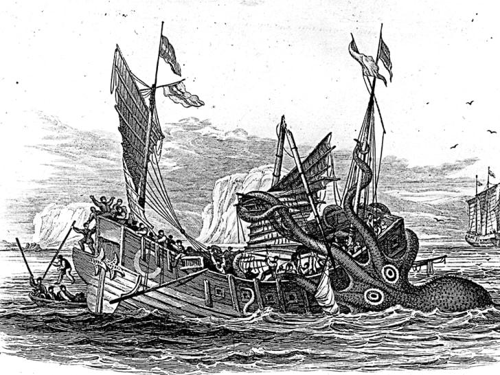 A many-armed kraken attacks an older ship