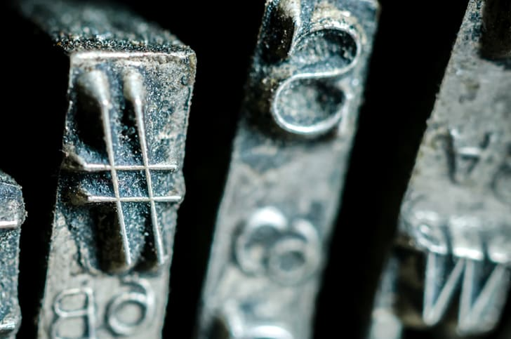 Hashtag on an old typewriter key