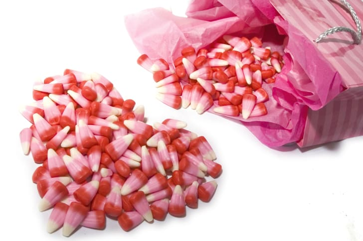 A bag of valentine's themed candy corn.
