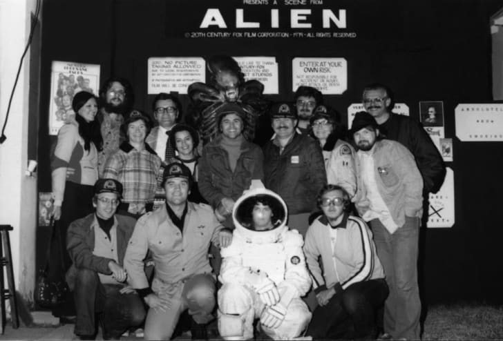 A portrait of the crew that worked on the 1979 Bob Burns Halloween display