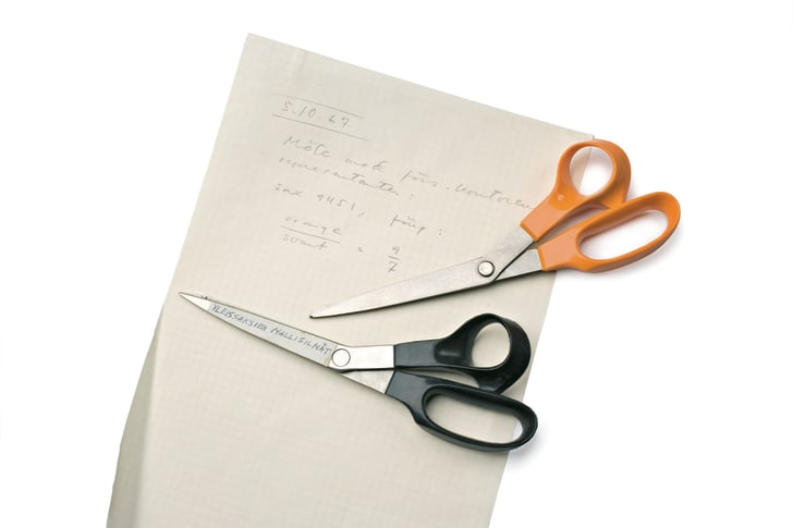 Prototypes of Fiskars scissors in black and orange