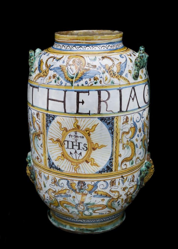 Albarello vase for theriac, Italy, 1641