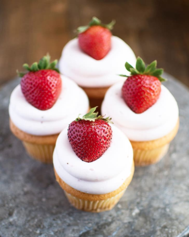 Four Strawberry Champagne cupcakes from Bredenbeck's.
