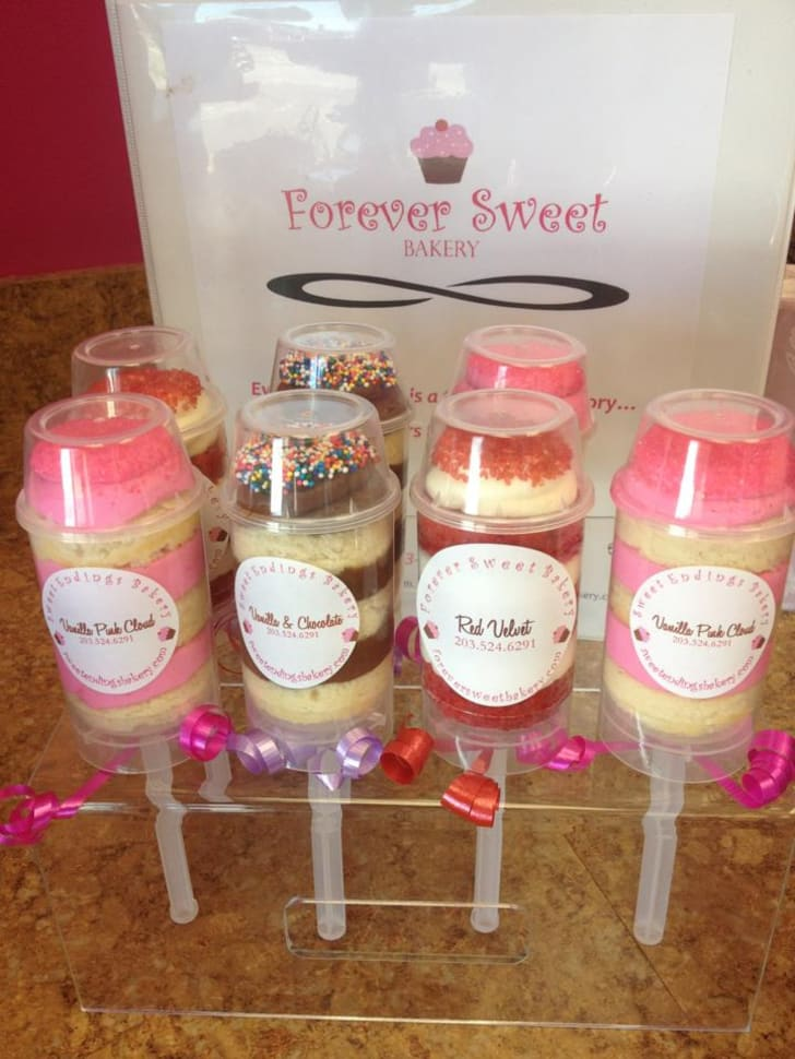 Push pop cupcakes of various flavors from Forever Sweet Bakery.