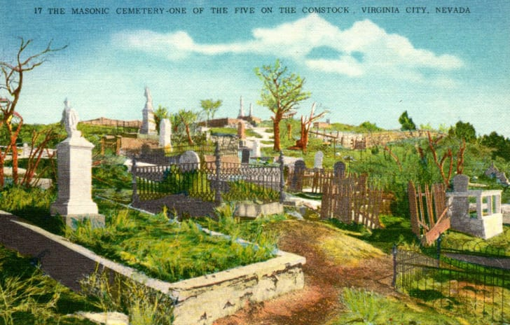 A vintage postcard from the Silver Terrace cemetery in Virginia City