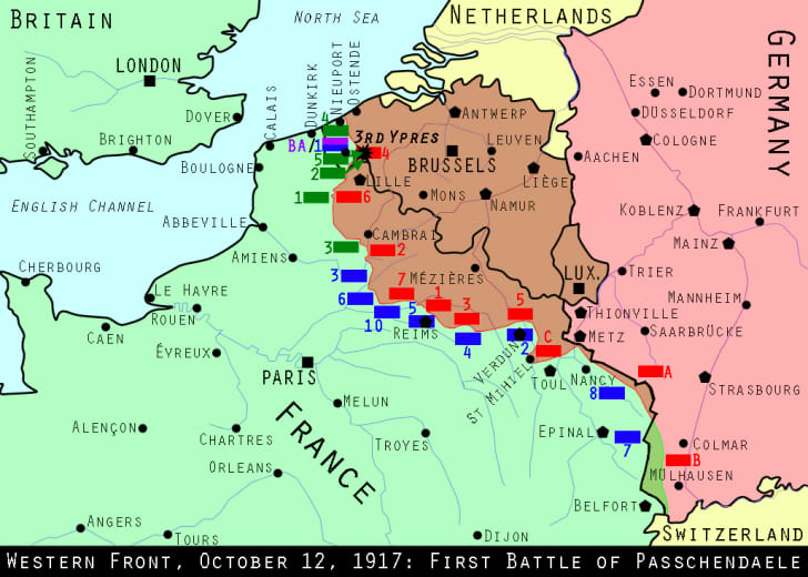 Western Front, October 12, 1917: First Battle of Passchendael