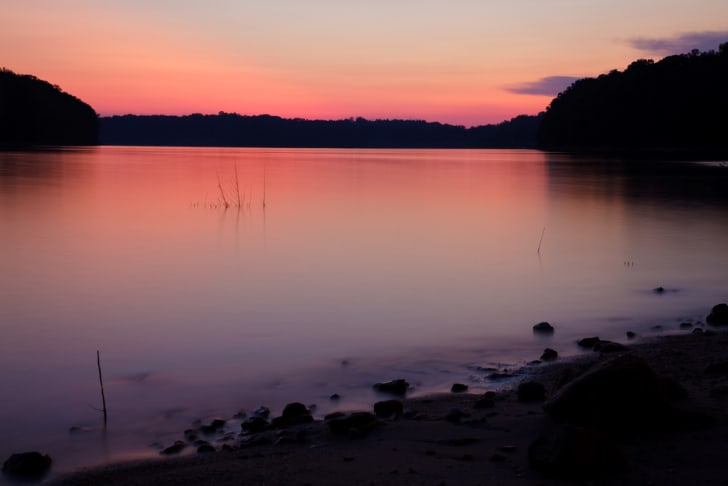 Lake Lanier in Georgia at sunset.