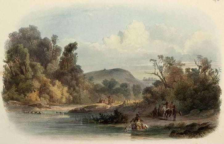 A painting of Blackbird Hill by Karol Bodmer.