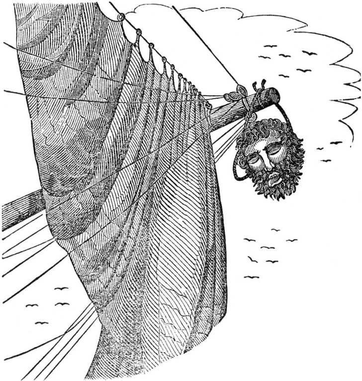 A drawing of the pirate Blackbeard's head hanging from a bowsprit.
