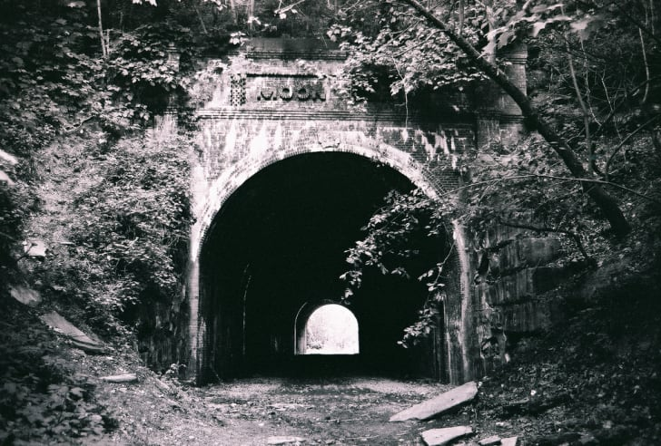 The spooky Moonville Tunnel in Ohio.