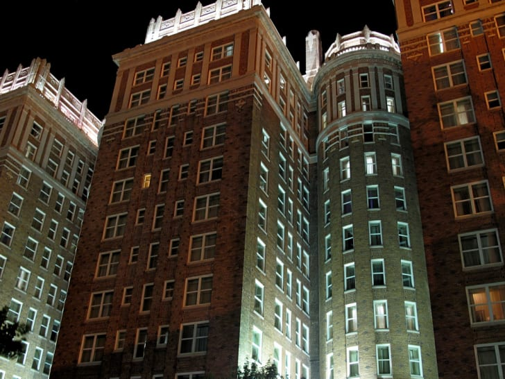 The Skirvin Hilton Hotel at night.