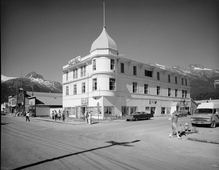 The Golden North Hotel in Skagway, Alaska, circa 1898.