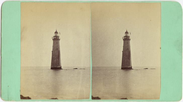A stereoscope photo of Minots Ledge lighthouse.