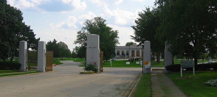 The main gate of Resurrection Cemetery in Justice, Illinois.