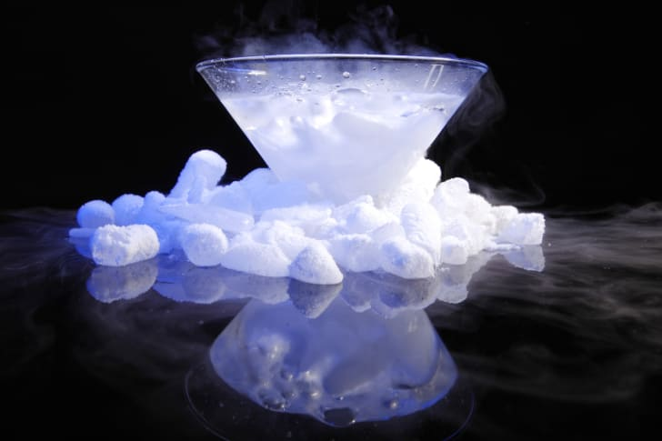 Dry ice in a glass bowl