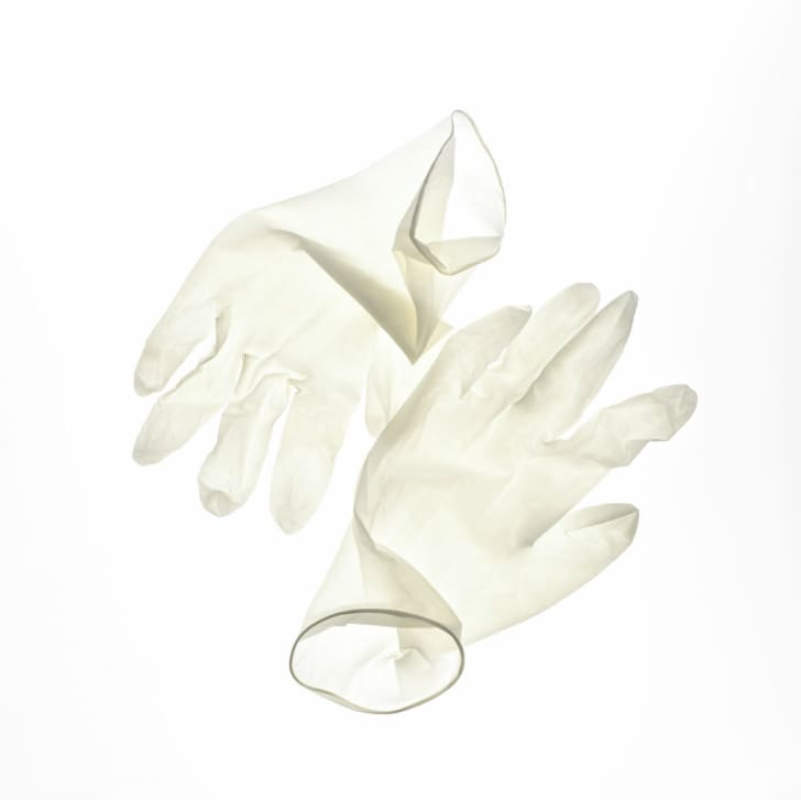 A pair of surgical gloves