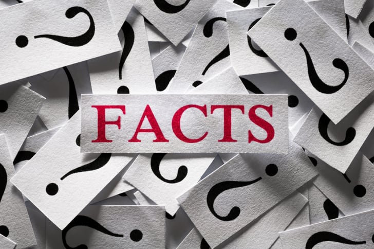 the word facts printed ona  slip of paper in red ink surrounded by slips with question marks in black ink