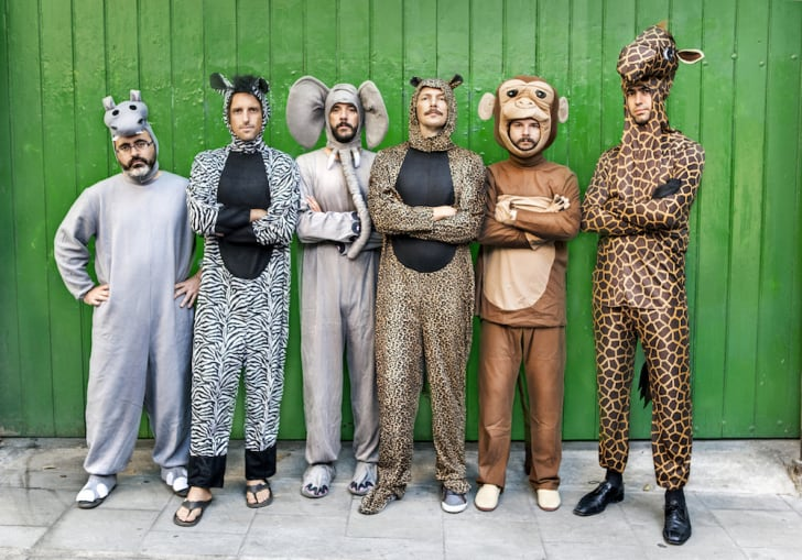 Group of men in animal costumes