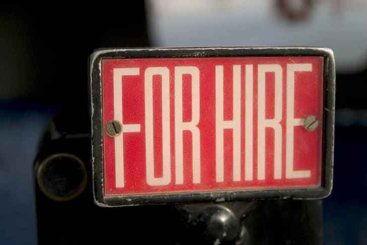Photo of a for hire sign