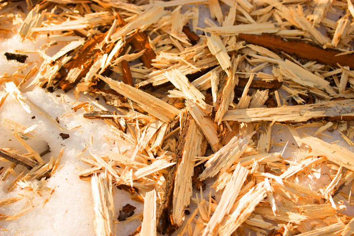 A pile of wooden splinters and sawdust