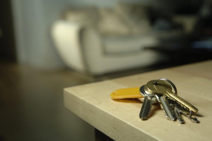 A set of keys on a table.