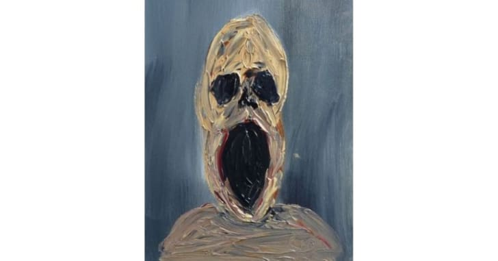 An oil painting of a screaming man