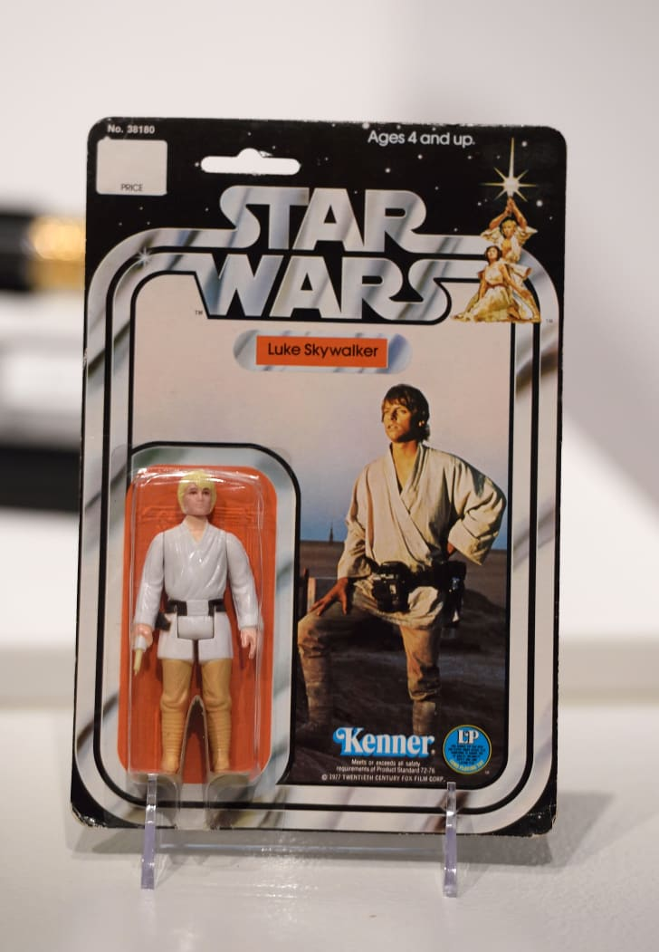 Luke Skywalker action figure still in the Kenner packaging from the 1970s.