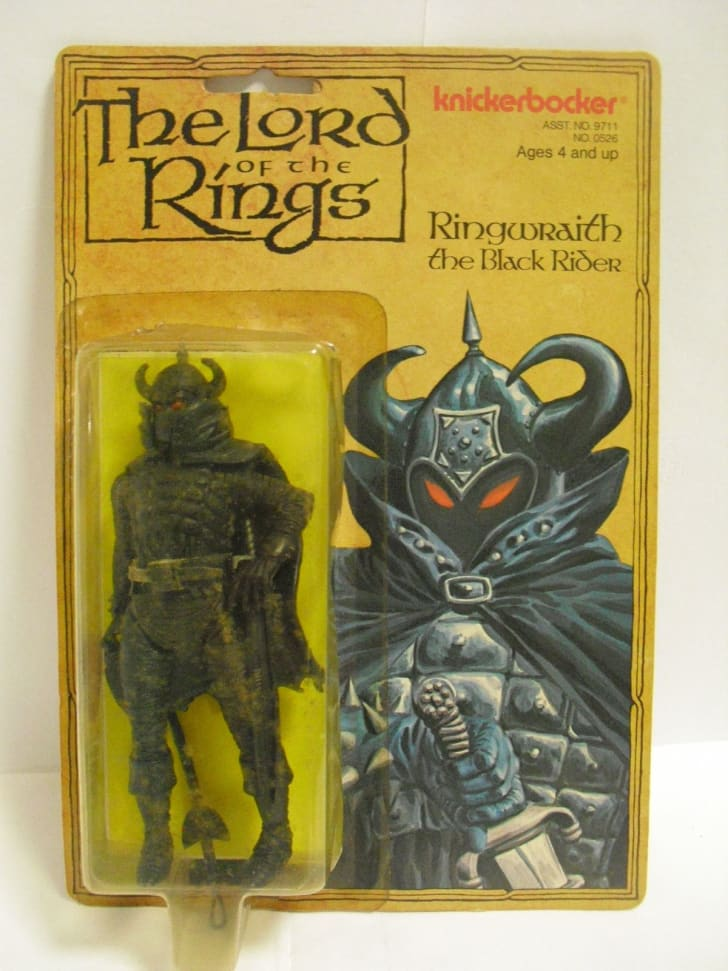 A vintage ringwraith toy from Lord of the Rings by Knickerbocker toys, still on the yellow blister pack.