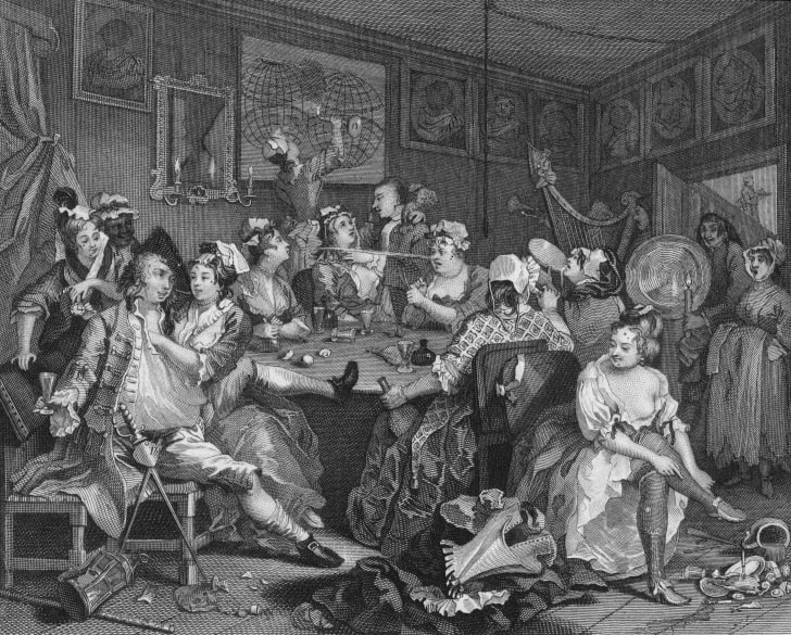 The Tavern Scene from Plate 3 of 'The Rake's Progress', a series of paintings by William Hogarth, circa 1735.