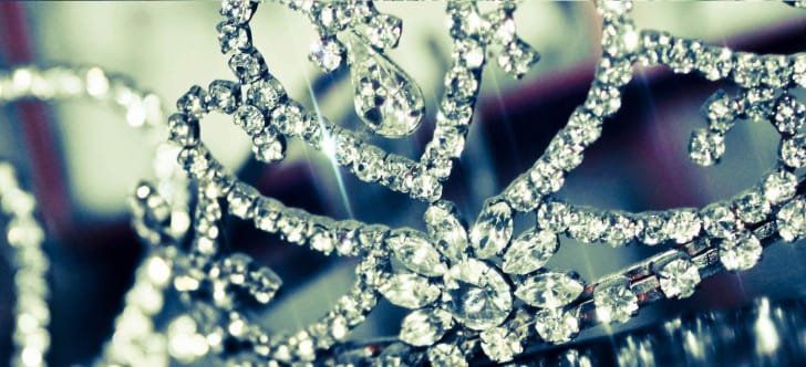 A close-up of a glittering tiara.