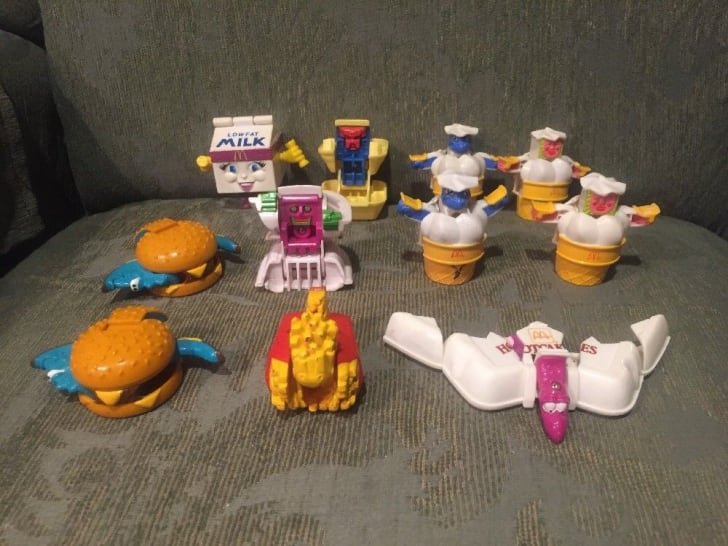 A photo of transformed McDonalds Changeables Happy Meal toys.