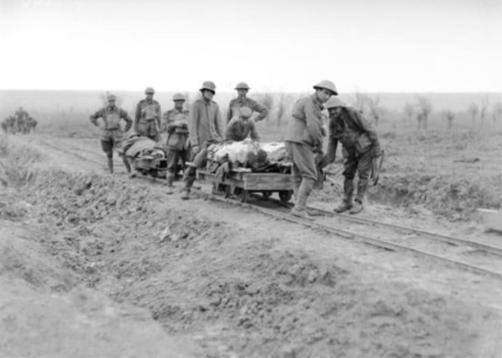 Members of the 5th Australian Field Ambulance bringing in wounded during the Australian attack at Broodseinde Ridge