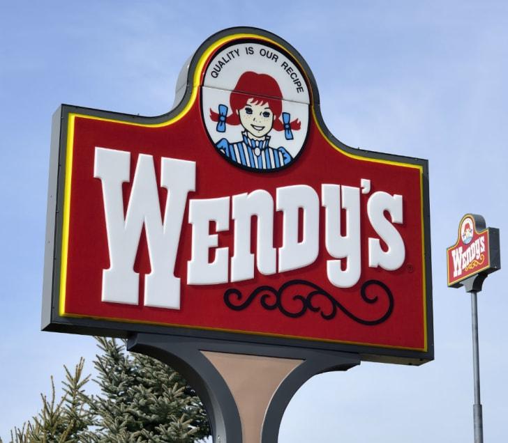 A Wendy's restaurant sign