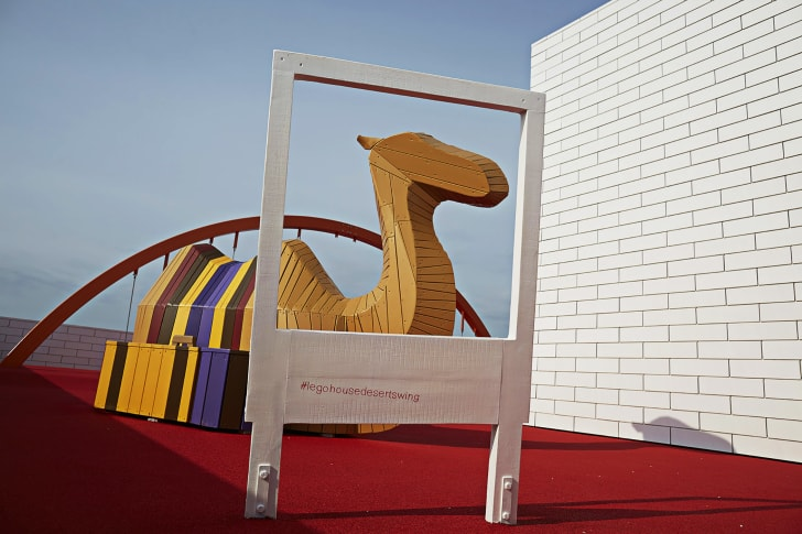 Oversize LEGO model sits on a LEGO House terrace in Billund, Denmark.