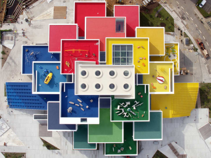 Aerial rooftop view of the LEGO Group's new LEGO® House in Billund, Denmark.