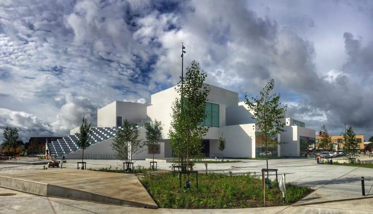 Facade of the LEGO Group's new LEGO® House in Billund, Denmark