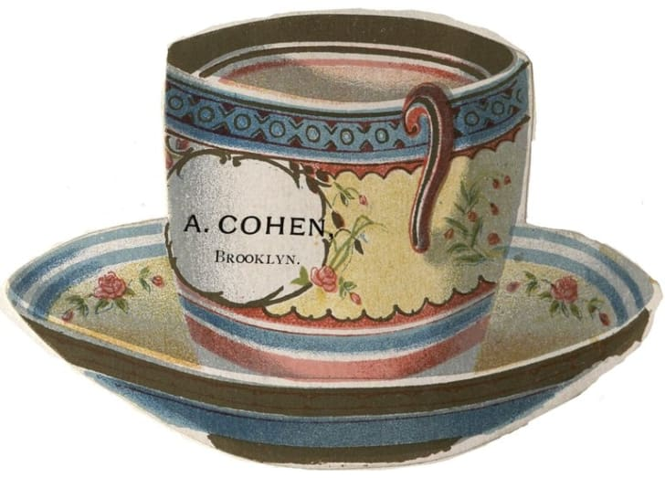 Card in the shape of a teacup with text reading A. Cohen, Brooklyn.