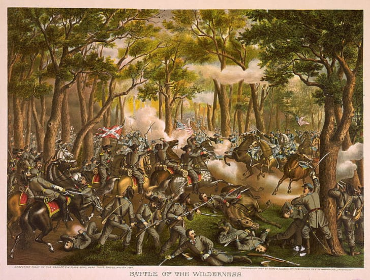 A painting of the Battle of Wilderness.