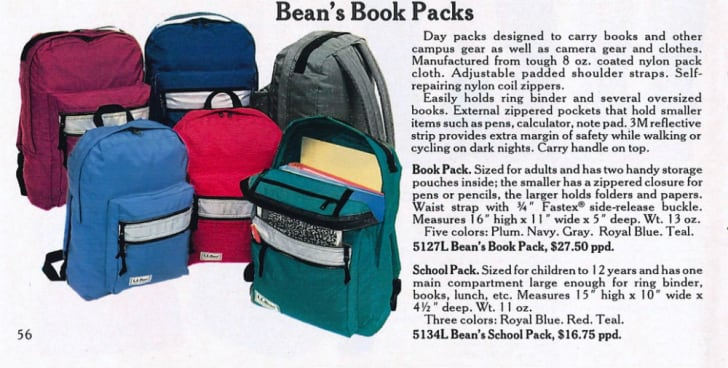 A 1984 L.L. Bean catalog page featuring the Book Pack