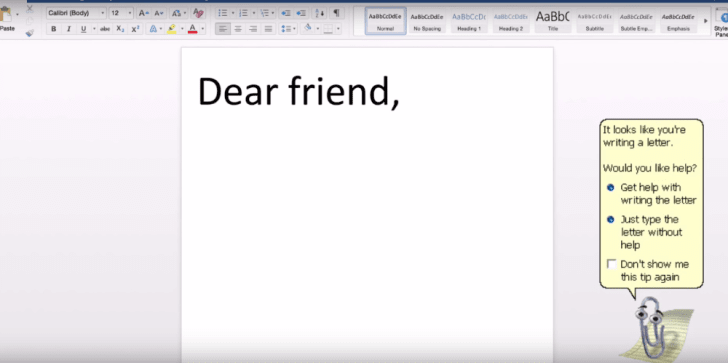 A screen shot featuring Clippy