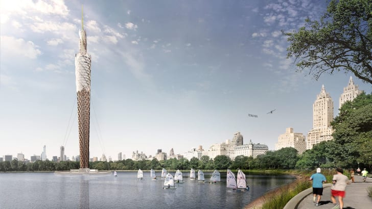 A rendering of Central Park Tower, a 712-foot-tall prefabricated timber observation tower proposed for New York's Central Park that's designed by studio DFA.
