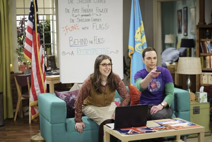 Amy and Sheldon in The Big Bang Theory.