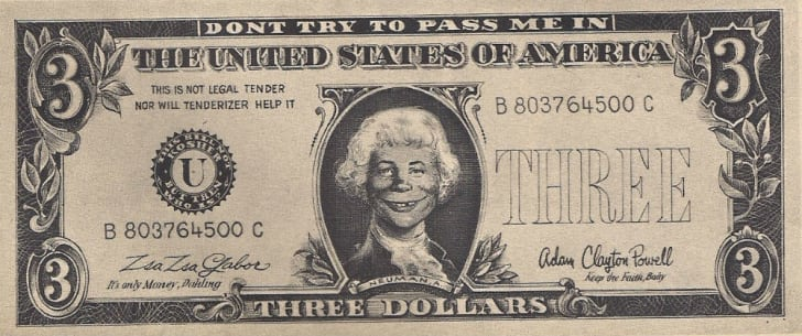 The infamous $3 bill published in a 1967 issue of 'Mad' magazine