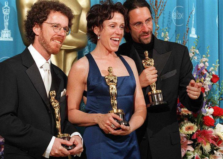 Ethan Coen, Frances McDormand and Joel Coen at the Oscars