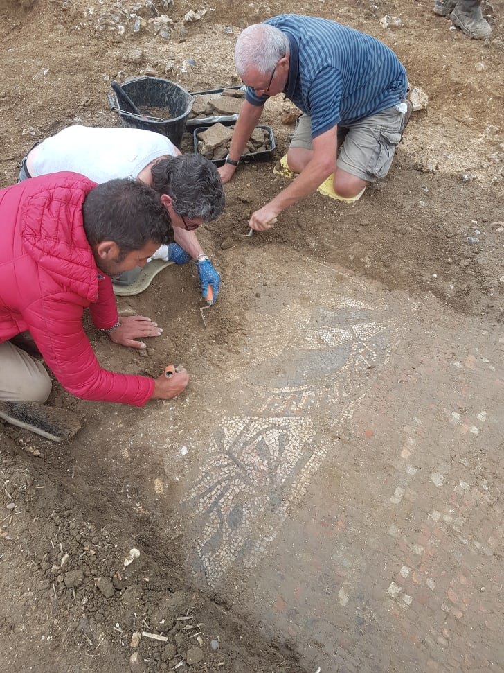 Citizen archaeologists in Boxford, England unearth a Roman mosaic thought to date from 380 CE.
