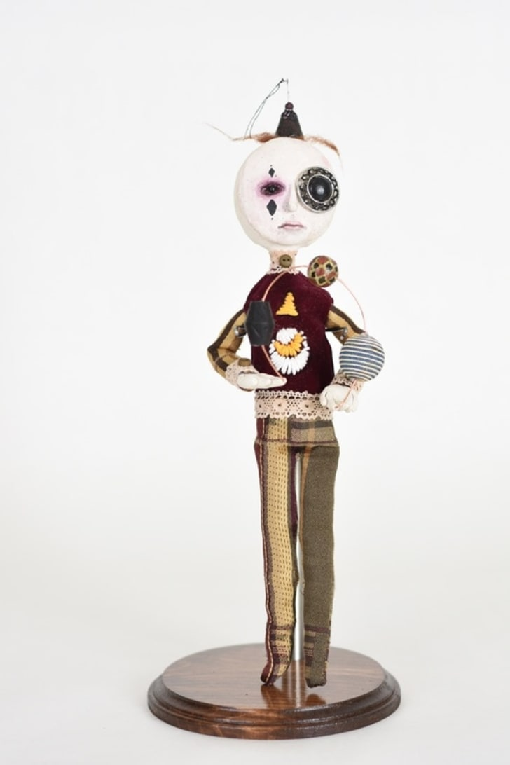 A sculpture made from found materials and other objects by 12-year-old Callum Donovan Grujicich.